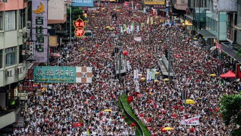 HONG KONG, HONG KONG - JUNE 09:  Protesters march on a street during a rally against the extradition law proposal on June 9, 2019 in Hong Kong China. Hundreds of thousands of protesters marched in Hong Kong in Sunday against a controversial extradition bill that would allow suspected criminals to be sent to mainland China for trial.(Photo by Anthony Kwan/Getty Images)