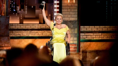 Ali Stroker accepts the Best Performance by an Actress in a Featured Role in a Musical award for Rodgers & Hammerstein's Oklahoma! onstage during the 2019 Tony Awards