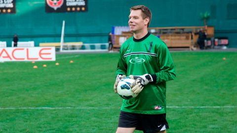 Swalwell warms up before playing in a charity soccer match in April 2014. Swalwell played soccer for a couple of years in college.