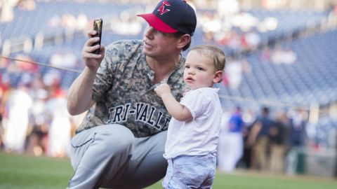 Swallwell and his son, Nelson, attend the Congressional Baseball Game in June 2018. Swalwell has two children with his wife, Brittany.