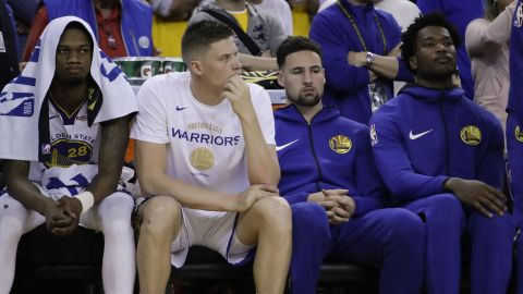 Thompson, second from right, sat out Game 3 with a hamstring injury. He was one of several Warriors who missed time during the series. Center Kevon Looney fractured cartilage in his chest in Game 2 and didn't return until Game 5. And Durant, of course, missed most of the series.