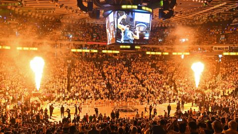 Warriors fans get ready for Game 3 at Oracle Arena. Next season, the team moves into a new arena in San Francisco.