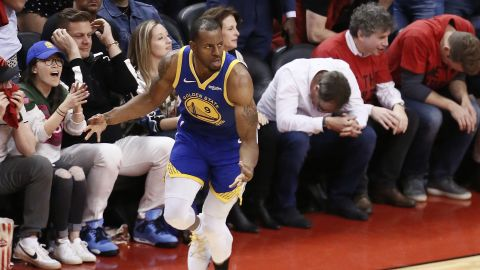 Warriors swingman Andre Iguodala broke the hearts of Raptors fans with a key 3-pointer late in Game 2. Golden State won 109-104 to even the series at one game apiece.