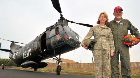 Brig. Gen. Laura Yeager is seen here in 2013 with her father, retired California National Guard Maj. Gen. Robert Brandt.