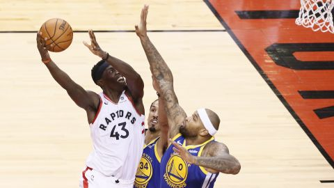 Siakam shoots during Game 1 on Thursday, May 30. Siakam scored a career-high 32 points as the Raptors won 118-109.