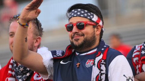 EAST HARTFORD, CT - OCTOBER 10: A member of the American Outlaws cheering group celebrates during an international friendly between the United States and Ecuador at Rentschler Field on October 10, 2014 in East Hartford, Connecticut.  (Photo by Mike Lawrie/Getty Images)