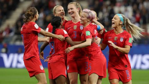Samantha Mewis of the USA celebrates with teammates after scoring her team's fourth goal during the match against Thailand on Tuesday in France.