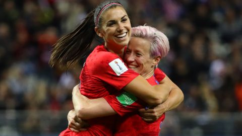 Morgan (left) and Rapinoe have both scored five times in France.