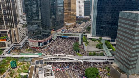 Protesters occupy a street during a rally against the extradition bill on June 12, 2019 in Hong Kong, China. Large crowds of protesters gathered in central Hong Kong as the city braced for another mass rally in a show of strength against the government over a divisive plan to allow extraditions to China. (Photo by Anthony Kwan/Getty Images)
