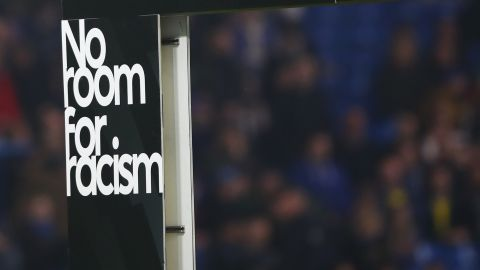 LONDON, ENGLAND - APRIL 08:  No Room For Racism campaign signage is seen prior to the Premier League match between Chelsea FC and West Ham United at Stamford Bridge on April 08, 2019 in London, United Kingdom. (Photo by Julian Finney/Getty Images)