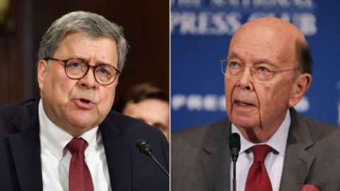 At left, Attorney General William Barr, and, at right Commerce Secretary Wilbur Ross.