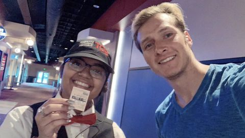 Agustin Alanis snapped this photo before entering the theater to watch the movie yet again.