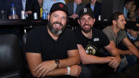 David Denman and John Krasinski at Game Seven of the Stanley Cup Final