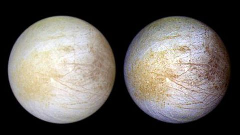 Jupiter's moon Europa, which has a subsurface ocean beneath an icy crust, has also been found to contain table salt. Tara Regio is the yellowish area to left of center where researchers identified an abundance of sodium chloride.