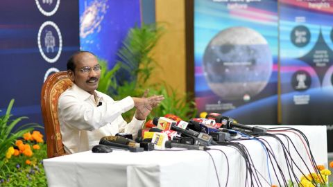Indian space scientist and Chairman of the Indian Space Research Organization (ISRO), Kailasavadivoo Sivan, speaking at a news conference on Wednesday.