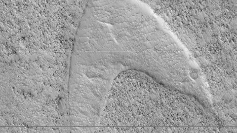 """Cooled lava helped preserve a footprint of where dunes once moved across a southeastern region on Mars. But it also looks like the """"Star Trek"""" symbol."""