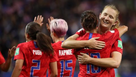 Carli Lloyd of the USA celebrates with teammates after the 2019 FIFA Women's World Cup  match against Thailand.