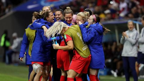 Megan Rapinoe celebrates with US teammates after winning a match last month in France.