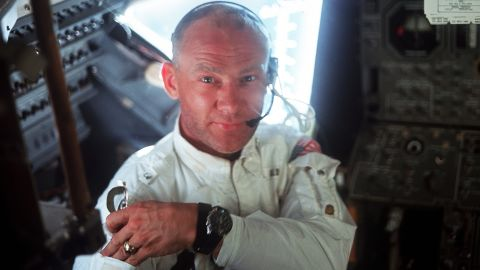 Aldrin co-piloted the Eagle lander to the surface.