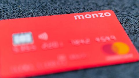 Stone, Staffordshire / United Kingdom - May 27, 2019: The picture of MONZO bank card. One of the first virtual bank on the UK market. The best holiday money card due to multi currency account. - Image
