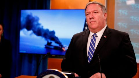 Secretary of State Mike Pompeo speaks during a media availability at the State Department, Thursday, June 13, 2019, in Washington.