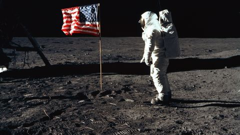 """Apollo 11 astronaut Edwin """"Buzz"""" Aldrin salutes the American flag on the surface of the moon on July 20, 1969. Aldrin was the second man to ever step foot on the lunar surface. The first was Neil Armstrong, Apollo 11's mission commander."""