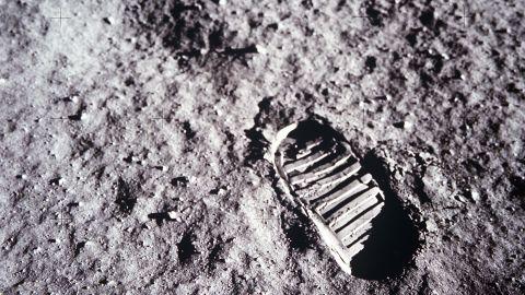 An astronaut's boot print on the lunar surface.