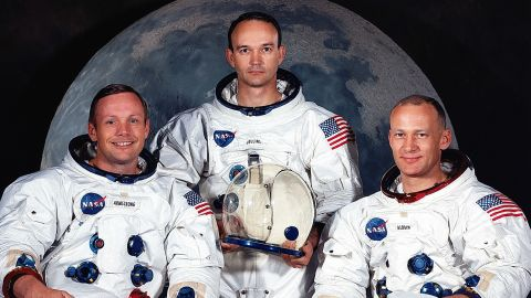 Apollo 11's crew is pictured in May 1969, the month before the launch. From left are Armstrong, Michael Collins and Aldrin. Collins piloted the command module that orbited the moon while Armstrong and Aldrin spent time on the surface.