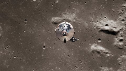 The Apollo 11 spacecraft consisted of a command module, Columbia, and a lunar module, Eagle. This photo, taken from the Eagle lunar module, shows the Columbia command module pulling away near the lunar surface.