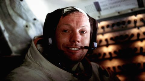 """Armstrong is pictured aboard the Eagle just after the historic moonwalk. As Armstrong lowered himself to the surface, people watching around the world heard him call it """"one small step for man, one giant leap for mankind."""" Armstrong later said he had intended to say """"a man"""" and thought he had. <a href=""""https://www.cnn.com/2013/06/04/tech/armstrong-quote/index.html"""" target=""""_blank"""">Numerous studies have been carried out over the years</a> to discover whether he had indeed uttered that one little sound. Either way, his intention was clear."""