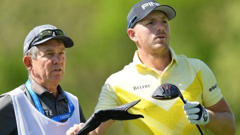Caddie David McNeilly with player Matt Wallace at the 2019 PGA Championship at Bethpage.