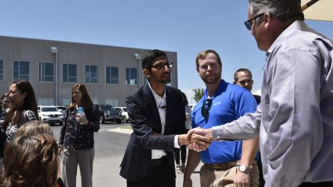 Google CEO Sundar Pichai greets attendees during an event at the Mayes County Google Data Center in Pryor, Oklahoma, June 13, 2019. Nick Oxford for CNN