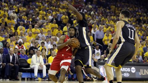 Lowry drives to the basket during the first half of Game 6. He had 21 points and six assists by halftime.