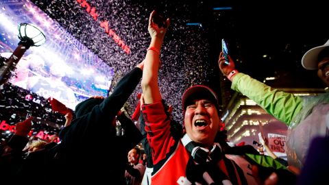 Raptors fans celebrate during a viewing party outside Toronto's Scotiabank Arena.