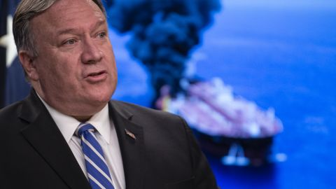 """US Secretary of State Mike Pompeo delivers remarks to the media at the State Department in Washington, DC on June 13, 2019. - US Secretary of State Mike Pompeo accused Iran of being behind attacks on two tanks in the Gulf of Oman Thursday, and said it was taking the case to the UN Security Council.""""It is the assessment of the United States that the Islamic Republic of Iran is responsible for the attacks,"""" Pompeo told reporters. (Photo by Eric BARADAT / AFP)        (Photo credit should read ERIC BARADAT/AFP/Getty Images)"""