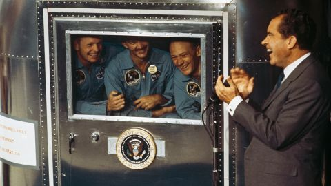 President Nixon spends time with the astronauts, who were in a quarantine trailer for their first few days back on Earth. From left are Armstrong, Collins and Aldrin. Since Apollo 11, only 10 other men have walked on the moon. The last was in 1972.