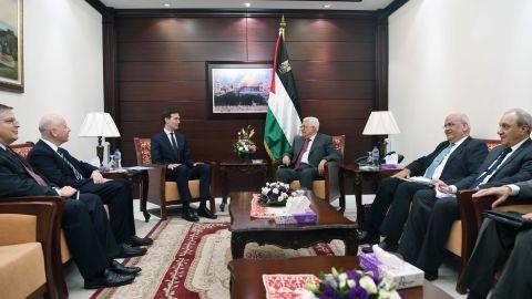 In June, 2017, Palestinian President Mahmoud Abbas meets with Jared Kushner, senior adviser to President Donald Trump.