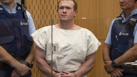Brenton Tarrant appears at a Christchurch court on March 16, 2019 accused of shooting dead 51 worshippers at two mosques.