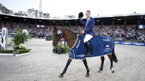 <strong>Stockholm:</strong> Peder Fredricson celebrates after winning the inaugural LGCT in the Olympic Stadium in Stockholm.