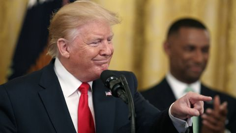 President Donald Trump gestures into the audience as he speaks about second chance hiring in the East Room of the White House, Thursday June 13, 2019, in Washington. (AP Photo/Jacquelyn Martin)