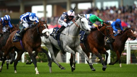 Daniel Tudhope rode Lord Glitters (grey) to victory in the opening Queen Anne Stakes on day one.