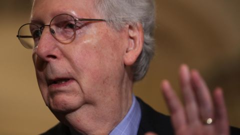 WASHINGTON, DC - JUNE 11:  U.S. Senate Majority Leader Mitch McConnell (R-KY) speaks during a news briefing after the weekly Senate Republican policy luncheon June 11, 2019 at the U.S. Capitol in Washington, DC. McConnell said the Senate plans to take up a funding bill to address the humanitarian crisis on the U.S.-Mexico border.  (Photo by Alex Wong/Getty Images)
