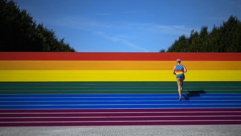 """<strong>New York City, New York:</strong> In June, the steps of Franklin D. Roosevelt Four Freedoms Park became <a href=""""https://cnn.com/2019/06/12/us/nyc-largest-pride-flag-trnd/index.html"""" target=""""_blank"""">New York's largest LGBT Pride flag</a>."""