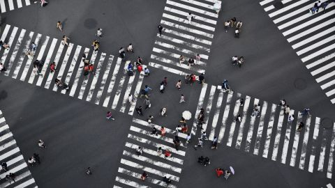 <strong>Tokyo: </strong>An aerial view of the Ginza Crossing, at the intersection of Harumi and Chuo streets. Ginza is a busy shopping district.