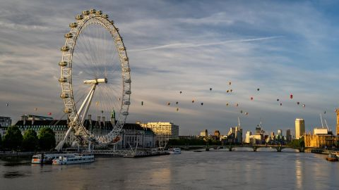 <strong>London: </strong>Hot air balloons fly over the River Thames as part of the Lord Mayor's Hot Air Balloon Regatta on June 9.
