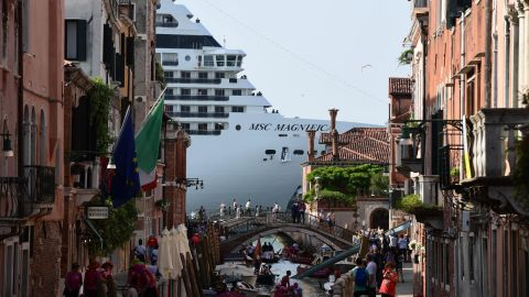 <strong>Venice, Italy: </strong>On June 9, the MSC Magnifica is seen in the Venice Lagoon the day after thousands of people took to the streets of Venice calling for a ban on large cruise ships in the city.