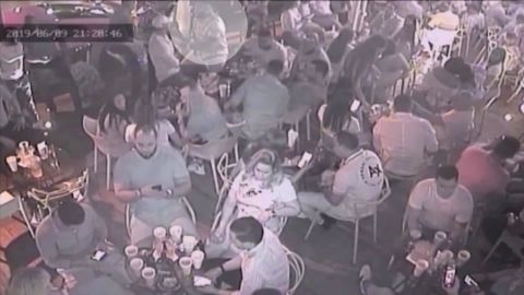 Surveilance video from the night of the shooting shows David Ortiz, highlighted, moments before the shooting.
