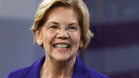 LAS VEGAS, NEVADA - APRIL 27:  Democratic presidential candidate U.S. Sen. Elizabeth Warren (D-MA) smiles as she is introduced at the National Forum on Wages and Working People: Creating an Economy That Works for All at Enclave on April 27, 2019 in Las Vegas, Nevada. Six of the 2020 Democratic presidential candidates are attending the forum, held by the Service Employees International Union and the Center for American Progress Action Fund, to share their economic policies.  (Photo by Ethan Miller/Getty Images)