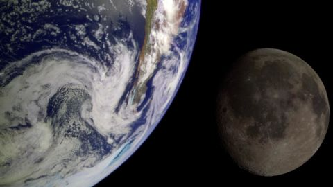 During its flight, NASA's Galileo spacecraft returned images of the Earth and Moon. Separate images of the Earth and Moon were combined to generate this view. http://photojournal.jpl.nasa.gov/catalog/PIA00342