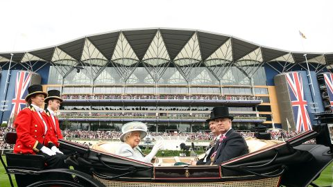 Britain's Queen Elizabeth II arrives in the Royal Enclosure ahead of Ladies' Day at Royal Ascot.